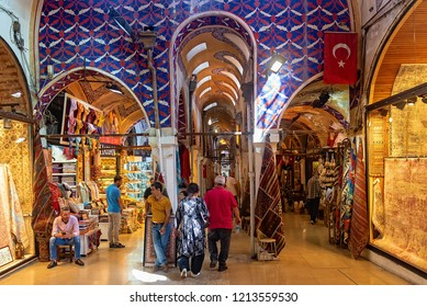 ISTANBUL, TURKEY - SEPTEMBER 19, 2018 : Grand Bazaar historical landmark of istanbul. Famous oriental market in old town locals and tourists visit for shopping carpets towels and oriental goods.