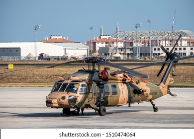 ISTANBUL, TURKEY, SEPTEMBER 19, 2019: Sikorsky S-70A-28 Blackhawk of Turkish Airforce parked at Ataturk Airport for Teknofest 2019 Airshow.