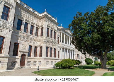 ISTANBUL, TURKEY, SEPTEMBER 19,2018: Exterior shot from the Painting Museum inside Dolmabahce Palace Complex, famous landmark at Besiktas coastline, Istanbul, Turkey.
