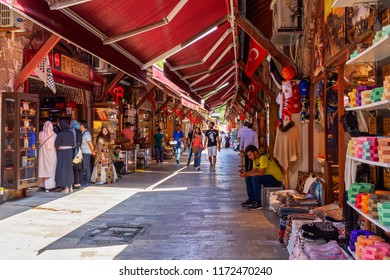 ISTANBUL, TURKEY - SEPTEMBER 2, 2018 : Arasta Bazaar of istanbul is an oriental market located in old town near the Blue Mosque. Locals and tourists visit for shopping carpets towels and oriental go