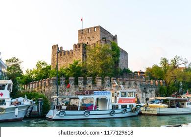 ISTANBUL, TURKEY - SEPTEMBER 2, 2018: Anadolu Hisari (Anatolian Fortress) and Goksu Creek in Beykoz, Istanbul, Turkey.
