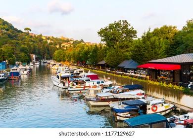 ISTANBUL, TURKEY - SEPTEMBER 2, 2018: Goksu Creek is popular place in Beykoz, Istanbul, Turkey.
