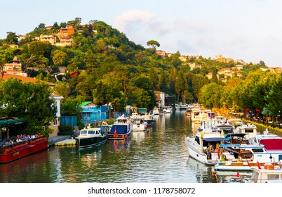 ISTANBUL, TURKEY - SEPTEMBER 2, 2018: Goksu Creek is popular place in Beykoz, Istanbul, Turkey.