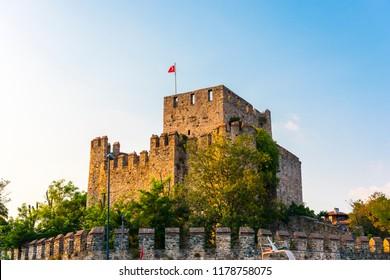 ISTANBUL, TURKEY - SEPTEMBER 2, 2018: Anadolu Hisari (Anatolian Fortress) in Beykoz, Istanbul, Turkey.