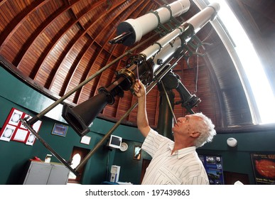 ISTANBUL, TURKEY - SEPTEMBER 2: Astronomical observatory telescope at the Kandilli Observatory on September 2, 2009 in Istanbul, Turkey. Observatory, which is also specialized on earthquake research.