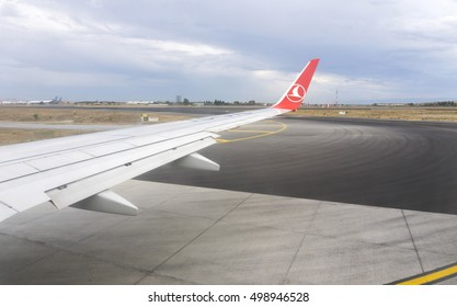 ISTANBUL, TURKEY - SEPTEMBER 20, 2016 Turkish Airlines TC-JYL - Boeing 737-9F2 airplane is making taxi on Ataturk Airport's Apron in Istanbul, Turkey