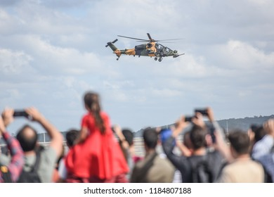ISTANBUL, TURKEY - SEPTEMBER 20, 2018: Turkish T-129 ATAK helicopter. Airshow event on 20 September 2018, Istanbul, Turkey.