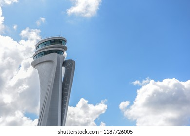 ISTANBUL, TURKEY, SEPTEMBER 20, 2018: Air traffic control tower of the 3rd airport of Istanbul, will be opened on 31 December 2018.