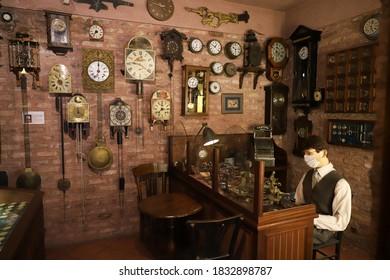 ISTANBUL, TURKEY - SEPTEMBER 20, 2020: Old watchmaker recreation in Rahmi M. Koc Industrial Museum. Koc museum is industrial Museum dedicated to history of transport, industry and communications