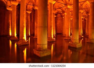 ISTANBUL, TURKEY - September 2014: Basilica Cistern, Yerebatan Sarnici, the ancient tank for water storage, Istanbul, Turkey