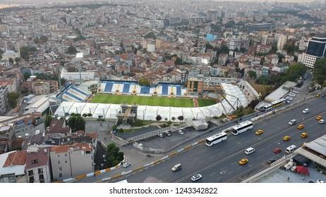 istanbul, Turkey - September 2018: Aereal view of Recep Tayyip Erdogan Stadium in Kasimpasa, istanbul