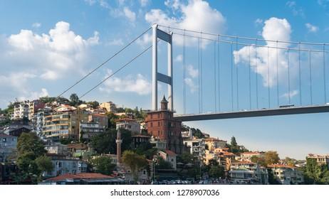 Istanbul, Turkey - September 2018: Borusan Contemporary Perili Kosk Istanbul is an art museum along the Bosphorus, Rumeli Hisari shore, Sariyer, Istanbul.