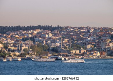 ISTANBUL, TURKEY, September - 2018, Uskudar district of Istanbul and Marmara coast. Minarets, domes and historical monuments.