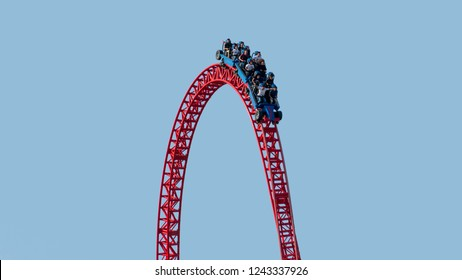 istanbul, Turkey - September 2018: Visitors ride on a roller coaster in Viasea Tema Park, istanbul, Turkey