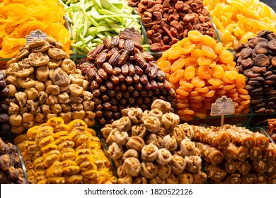 ISTANBUL, TURKEY - September 2020: Egyptian bazaar with lots of spices, dry fruits and  tea, Istanbul, Turkey