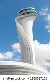ISTANBUL, TURKEY, SEPTEMBER 21, 2018: Air traffic control tower of the 3rd airport of Istanbul, will be opened on 31 December 2018.