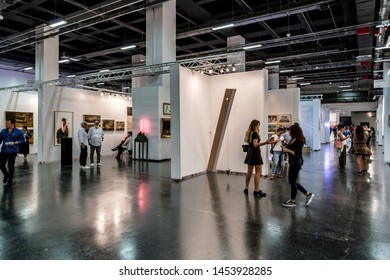 Istanbul, Turkey - September 21, 2018: 2018 edition of Contemporary Istanbul, Turkey's largest annual art exhibition held at Lutfi Kirdar Convention Center. Artworks and people visiting the event.