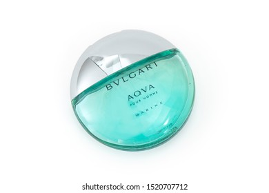 ISTANBUL, TURKEY - SEPTEMBER 21, 2019: A bottle of Bvlgari Aqva perfume on white background. Bulgari (BVLGARI) is an Italian jewelry, perfumery and luxury goods brand.