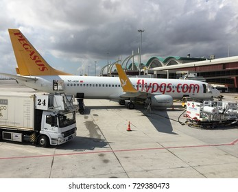 Istanbul, Turkey - September 22, 2017 : Pegasus airlines plane parked in Ataturk airport in Istanbul - Turkey