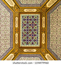 Istanbul, Turkey, September 22., 2018: Fine colourful tiles on the ceiling of a room in the Topkapi Palace
