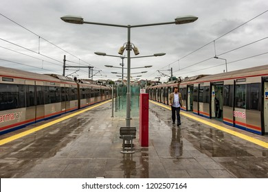 Istanbul, Turkey, September 23., 2018: Marmaray subway terminus in a suburb of Istanbul in the rain
