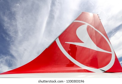 ISTANBUL, TURKEY - SEPTEMBER 23, 2018: Tailplane of Turkish Airlines Airplane. THY is the flag carrier of Turkey with 338 fleet size and 300 destinations