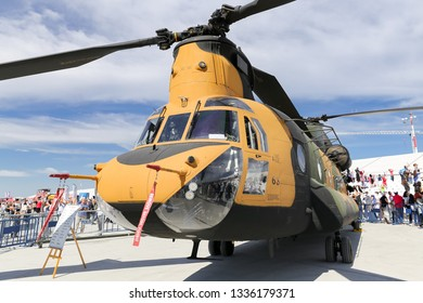 ISTANBUL, TURKEY - SEPTEMBER 23, 2018: Boeing CH-47F Chinook in Teknofest Istanbul Aeronautics, Space and Technology Festival