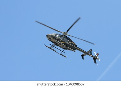 ISTANBUL, TURKEY - SEPTEMBER 23, 2018: Bell 407 in Teknofest Istanbul Aeronautics, Space and Technology Festival
