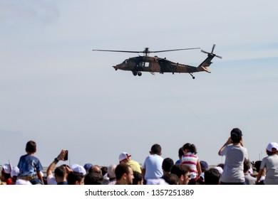 ISTANBUL, TURKEY - SEPTEMBER 23, 2018: Sikorsky S-70A-28 Blackhawk in Teknofest Istanbul Aeronautics, Space and Technology Festival