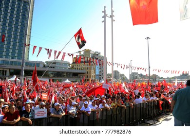 Istanbul, TURKEY / September 24, 2016: A meeting on Taksim Square about unsuccessful military coup attemp. People protest both military coup and Erdogan's dictatorship.