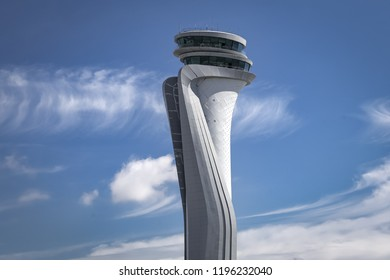 ISTANBUL, TURKEY - SEPTEMBER 25, 2018:Air traffic control tower of Istanbul new Airport