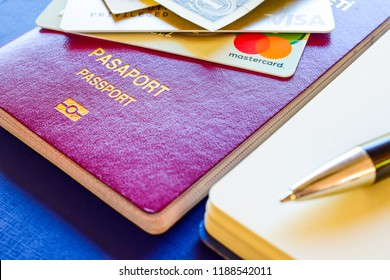 Istanbul, Turkey - September 26, 2018: Credit cards, master card, visa card and maestro card in the Turkish passport