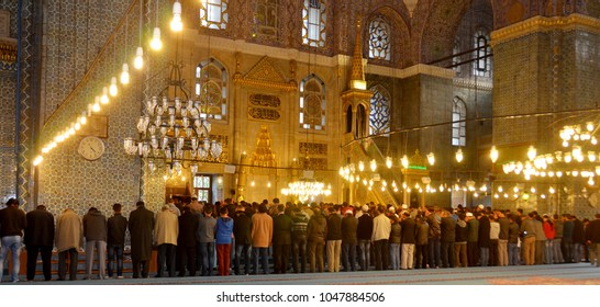 ISTANBUL, TURKEY SEPTEMBER 26: People praying at Suleymaniye Mosque on September 28, 2013 Istanbul in Turkey. The Suleymaniye Mosque  is an Ottoman imperial mosque