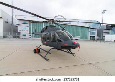 ISTANBUL, TURKEY - SEPTEMBER 27, 2014: Bell 407GX in Istanbul Airshow which held in Ataturk Airport