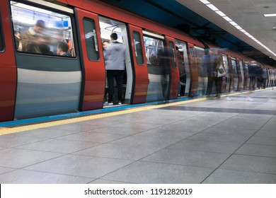 ISTANBUL- TURKEY, SEPTEMBER 27, 2018; From the districts of Istanbul, Kadikoy, Pendik Metro line Kozyatagi station. The first subway line of Anatolian side.