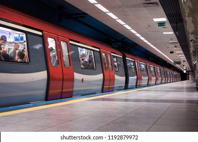 ISTANBUL- TURKEY, SEPTEMBER 27, 2018; From the districts of Istanbul, Kadikoy, Pendik Metro line Kozyatagi station. The first subway line of Anatolian side.