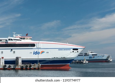 ISTANBUL, TURKEY - SEPTEMBER 27, 2018: IDO ferry station and ferries carrying passengers from Yenikapi to many points thru Marmara Sea on September 27, 2018.
