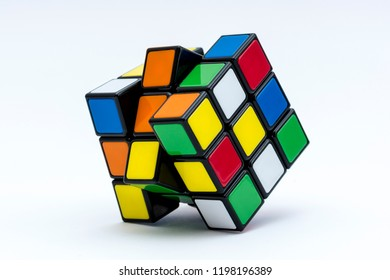 ISTANBUL - TURKEY - SEPTEMBER 27, 2018: Rubik's cube on the black background. Rubik's Cube invented by a Hungarian architect Erno Rubik in 1974.
