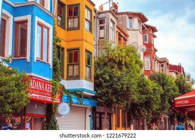 ISTANBUL, TURKEY - September 27, 2018. Colorful houses of the Balat district.