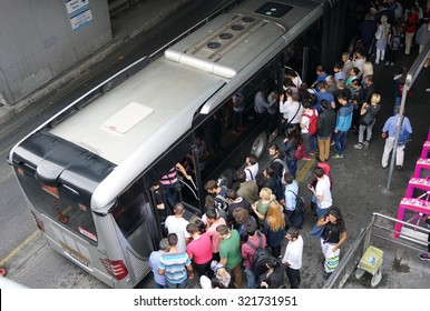 ISTANBUL, TURKEY - SEPTEMBER 28, 2015: Zincirlikuyu District in instanbul.People waiting metrobus.Metrobus, a part of public transportation system, eases the traffic in Istanbu