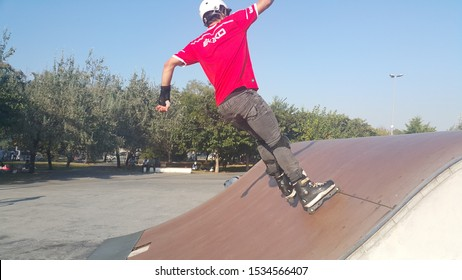 Istanbul / Turkey - September 28, 2019: sliding with teenagers and kids skate in the park