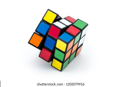 ISTANBUL - TURKEY - SEPTEMBER 29, 2018: Rubik's cube on the black background. Rubik's Cube invented by a Hungarian architect Erno Rubik in 1974.