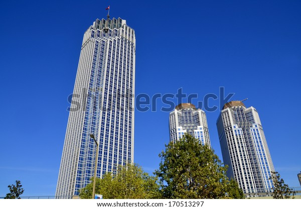 ISTANBUL TURKEY SEPTEMBER 29: Modern business buildings in downtown Istanbul on september 29 2013 in Istanbul Turkey. The population of Istanbul was 13,85 millions (2012)