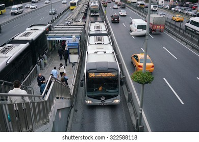 ISTANBUL, TURKEY - SEPTEMBER 30, 2015: BAHCELIEVLER district in istanbu. Metrobus, a part of public transportation system, eases the traffic in Istanbul on SEPTEMBER 30, 2015 in Istanbul, Turkey