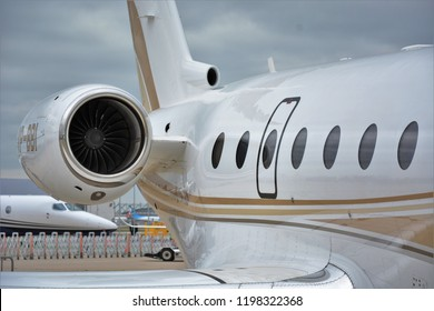 ISTANBUL, TURKEY - SEPTEMBER 30, 2018: Gulfstream G280 VP-BBI at Air Show which held at Istanbul Ataturk Airport
