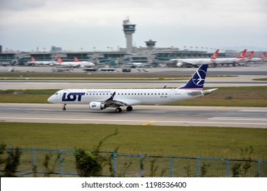 ISTANBUL, TURKEY - SEPTEMBER 30, 2018: LOT Polish Airlines Embraer ERJ-195LR SP-LND is taking off at Istanbul Ataturk Airport
