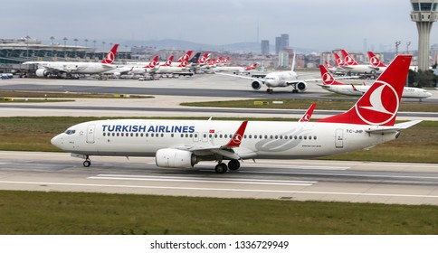 ISTANBUL, TURKEY - SEPTEMBER 30, 2018: Turkish Airlines Boeing 737-8F2 (CN 42000) takes off from Istanbul Ataturk Airport. THY is the flag carrier of Turkey with 330 fleet size and 304 destinations