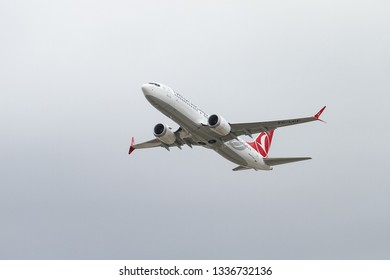ISTANBUL, TURKEY - SEPTEMBER 30, 2018: Turkish Airlines Boeing 737-8MAX (CN 60037) takes off from Istanbul Ataturk Airport. THY grounds Boeing 737 MAX planes after Ethiopia crash