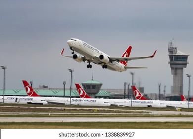 ISTANBUL, TURKEY - SEPTEMBER 30, 2018: Turkish Airlines Boeing 737-8F2 (CN 42006) takes off from Istanbul Ataturk Airport. THY is the flag carrier of Turkey with 330 fleet size and 304 destinations