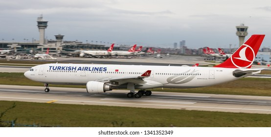 ISTANBUL, TURKEY - SEPTEMBER 30, 2018: Turkish Airlines Airbus A330-303 (CN 1514) takes off from Istanbul Ataturk Airport. THY is the flag carrier of Turkey with 330 fleet size and 304 destinations